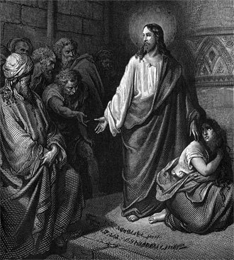 John 8:7 (KJV) 7 So when they continued asking him, he lifted up himself, and said unto them, He that is without sin among you, let him first cast a stone at her.